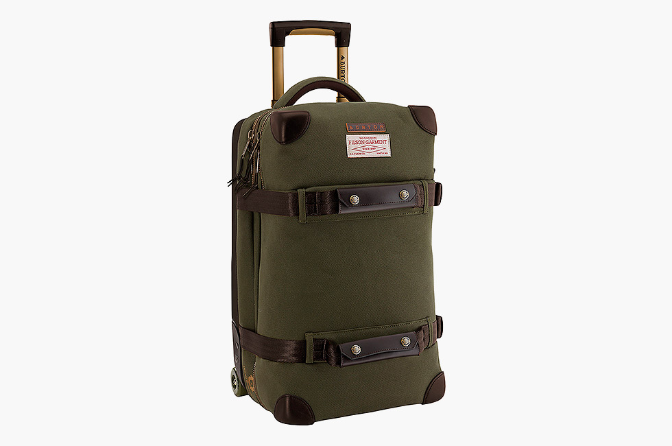 filson x burton wheelie flight deck travel bag imboldn